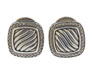 David Yurman Albion Diamond Sterling Silver Earrings