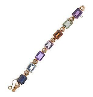 Mid Century 18k Gold Citrine Topaz Garnet Prasiolite Bracelet