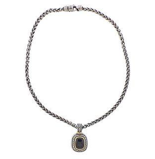 David Yurman Albion Sterling Silver 14k Gold Onyx Pendant Necklace