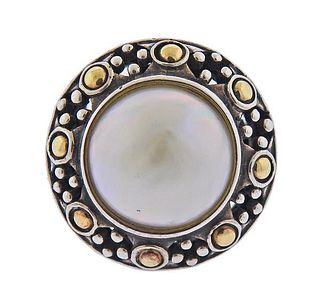 John Hardy Dots  Silver 18K Gold Mabe Pearl Ring