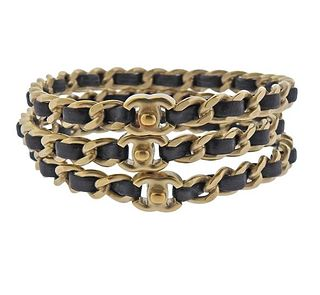 Chanel Leather Chain Bangle Bracelet Lot of 3