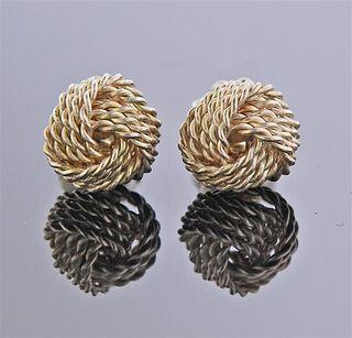 Tiffany & Co Sterling Silver Knot Stud Earrings