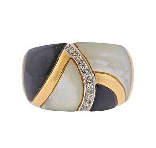 14k Gold Inlay MOP Onyx Diamond Ring