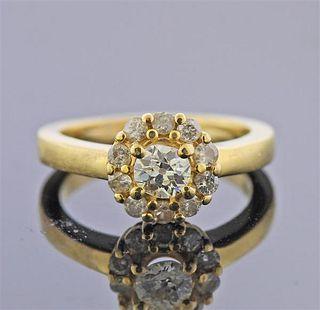 18k Gold Diamond Flower Ring