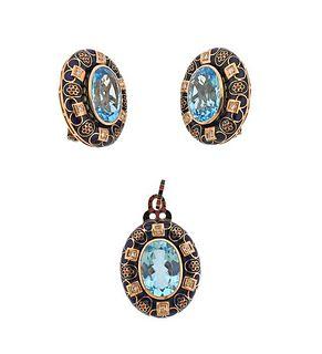 12k Rose Gold Enamel Blue Topaz Diamond Earrings Pendant Set