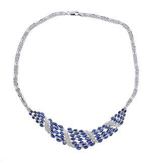 14k Gold Diamond Sapphire Necklace