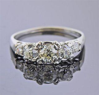 Mid Century 14k Gold Diamond Ring