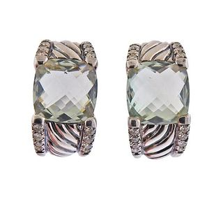 David Yurman Silver Diamond Prasiolite Cable Earrings