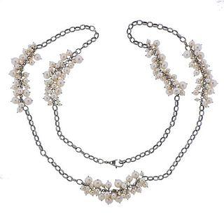 Lagos Caviar Silver Pearl Long Necklace