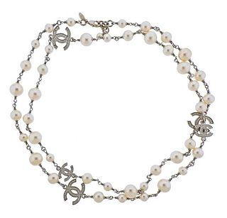 Chanel CC Costume Pearl  Long Necklace