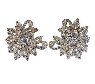Mid Century 18K Gold Platinum Diamond Earrings