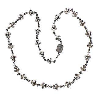 King Baby Fleur De Lis Silver Necklace
