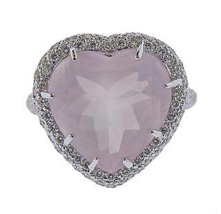 18K Gold Diamond Heart Rose Quartz Ring
