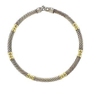 David Yurman 14k Gold Silver Cable Necklace