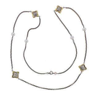 David Yurman Silver 18K Gold Pearl Necklace