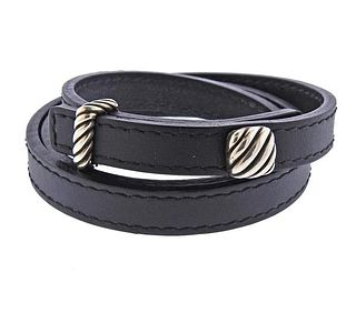 David Yurman Silver Leather Wrap Bracelet