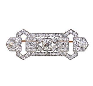 Art Deco Platinum 18K Gold Diamond Brooch Pin