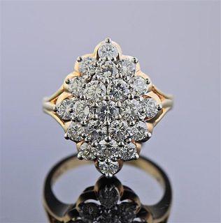 14K Gold Platinum Diamond Cluster Ring
