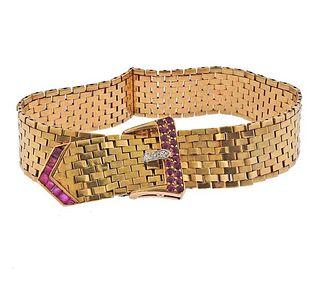 Retro 14K Gold Diamond Ruby Buckle Bracelet