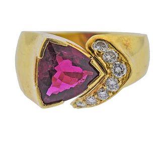 18K Gold Diamond Pink Tourmaline Ring