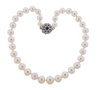 14K Gold Diamond Sapphire Pearl Necklace