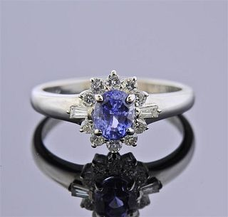 Platinum Diamond Sapphire Cluster Ring