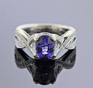 18k Gold 1.82ct Tanzanite Diamond Ring