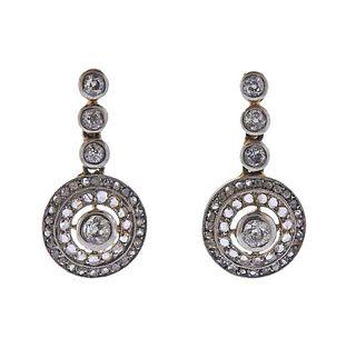 18K Gold Platinum Diamond Earrings