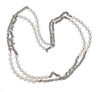 David Yurman Silver Pearl Long Necklace