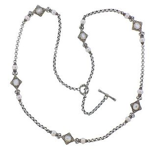 Konstantino Silver Mother of Pearl Toggle Necklace