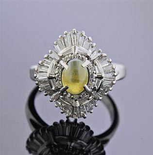 Platinum 1.26ct Cat's Eye Diamond Cocktail Ring
