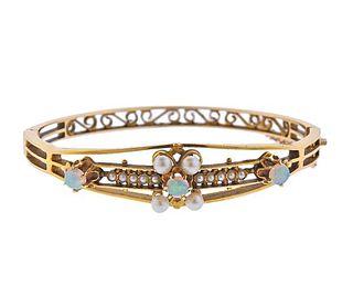 Antique 14k Gold Pearl Opal Bangle Bracelet