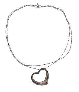 Tiffany & Co Peretti Silver Open Heart Pendant Necklace