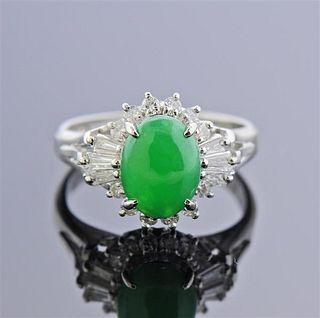 Platinum 1.50ct Jade Diamond Cocktail Ring