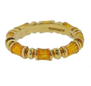 Tiffany & Co 18k Gold Yellow Enamel Band Ring