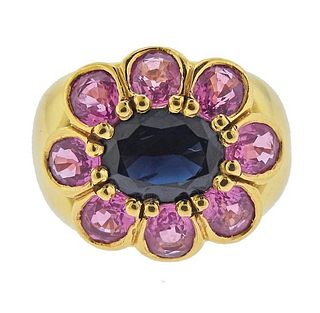 18K Gold Blue Pink Sapphire Cocktail Ring