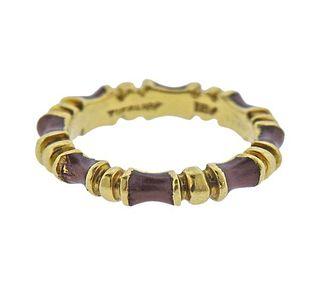 Tiffany & Co 18k Gold Brown Enamel Band Ring