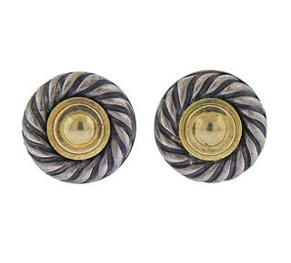 David Yurman Silver 14k Gold Stud Cookie Earrings