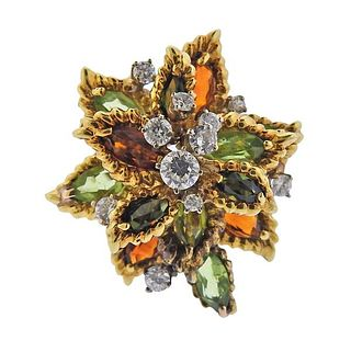 18K Gold Diamond Tourmaline Peridot Cocktail Ring