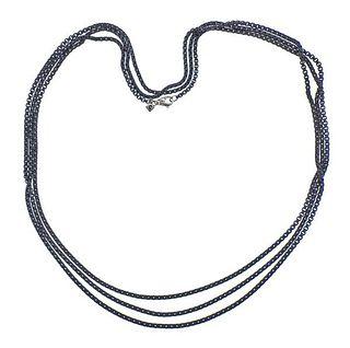 David Yurman Blackened Silver Long Box Chain Necklace
