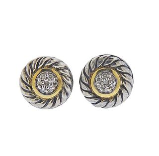 David Yurman Silver 18K Gold Diamond Stud Cookie Earrings