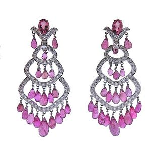 18K Gold Diamond Tourmaline Chandelier Earrings