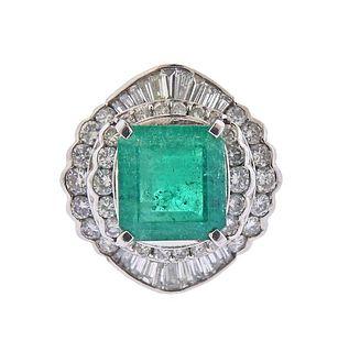 Platinum 6.24ct Emerald Diamond Cocktail Ring