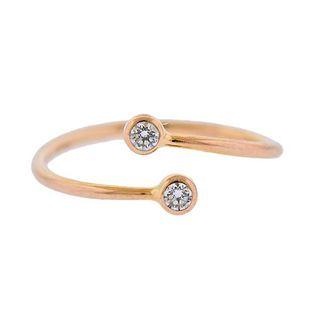Tiffany & Co Elsa Peretti 18K Gold Diamond Bypass Ring