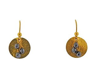 Gurhan 24K Gold Briolette Diamond Disc Earrings