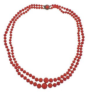 Antique Coral Bead Gold Necklace