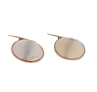 Antique 10K Gold Moonstone Cufflinks