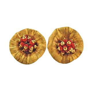 18K Gold Coral Floral Earrings