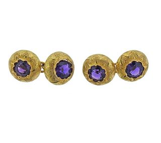 French Antique 18k Gold Amethyst Cufflinks