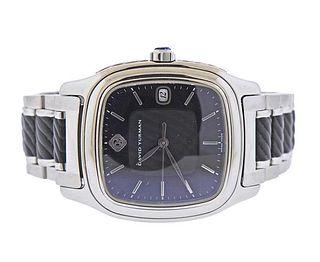 David Yurman Thoroughbred Steel Black Automatic Watch T301 LST